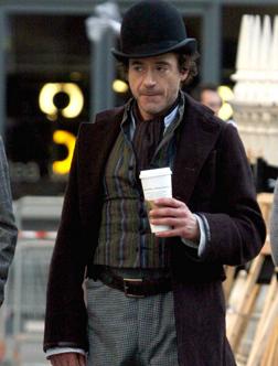Robert Downey Jr on the set of Sherlock Holmes